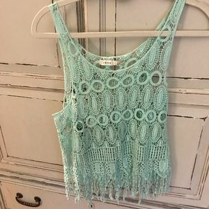 Entro mint green lace top size s/m